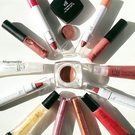 ELF lip gloss balm lipstick review swatches