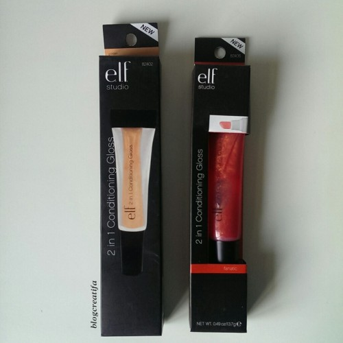 ELF studio 2 in 1 conditioning lip gloss Golden Fanatic reviews swatches swatch