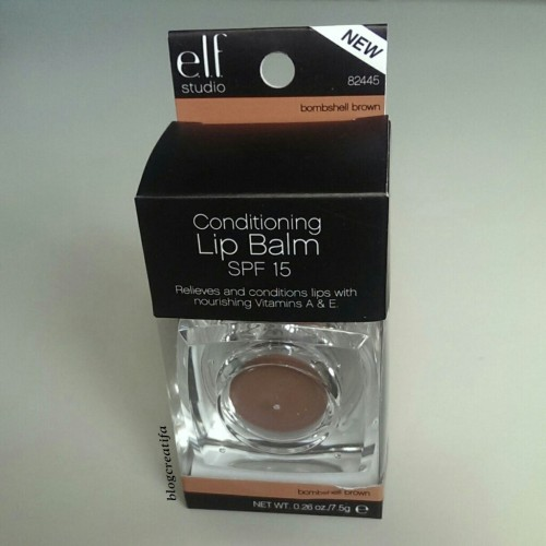 ELF studio conditioning lip balm gloss SPF Bombshell Brown review swatch swatches