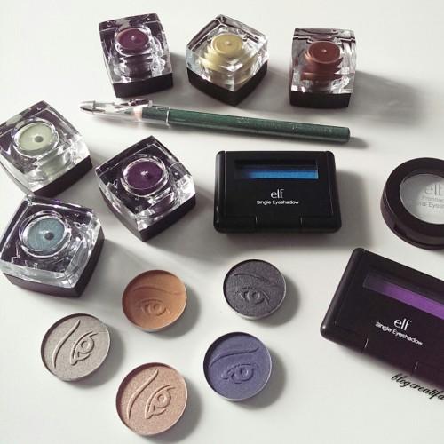 ELF studio eyeliner eyeshadow cream pigment mineral pressed shimmer matte review swatches