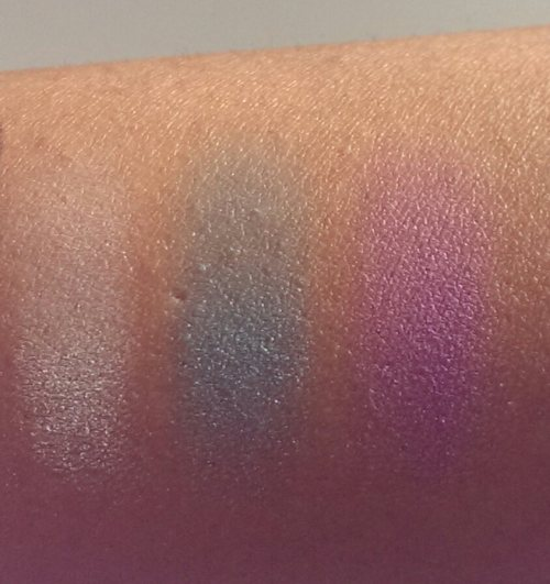 Left to Right: Pressed Mineral Eyeshadow in Bridal Party 6561, and Studio Single Eyeshadows in Totally Teal 81133 and Purple Passion 81135.